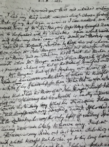 A sample of Roger Jones's spidery writing. Copyright for this image belongs to the National Library of Wales. Please do not use without their permission.