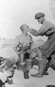 Jack Morten Shaving in the Desert, 1916