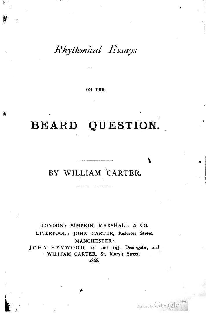 rhythmical essays on the beard question beard haters in the rhythmicalessay00cartgoog 0005