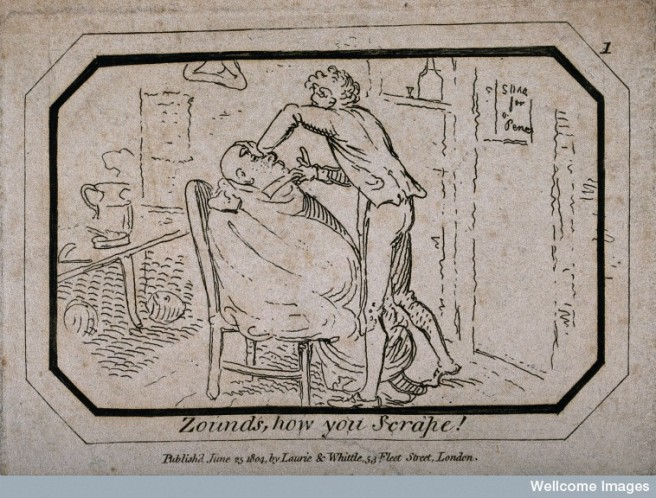 V0019687 A barber shaving a man in his shop. Etching, 1804.