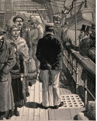 Passengers on board ship undergoing quarantine examination 1883 Wellcome